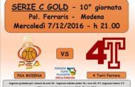 Serie C Gold Emilia 2016-17: mercoledì 7 dicembre fa visita al PSA Modena la 4 Torri Ferrara
