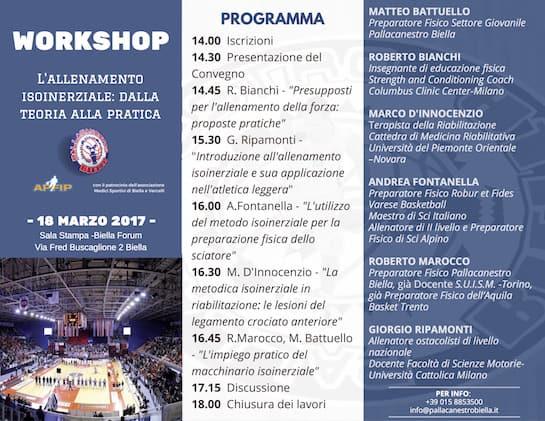 A2 Citroen Ovest 2016-17: workshop sull'allenamento isonerziale by Pallacanestro Biella sabato 18 marzo