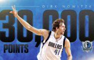 NBA 2016-17: la notte 7 Marzo NBA Dirk Nowitzski raggiunge quota 30,000 punti in carriera