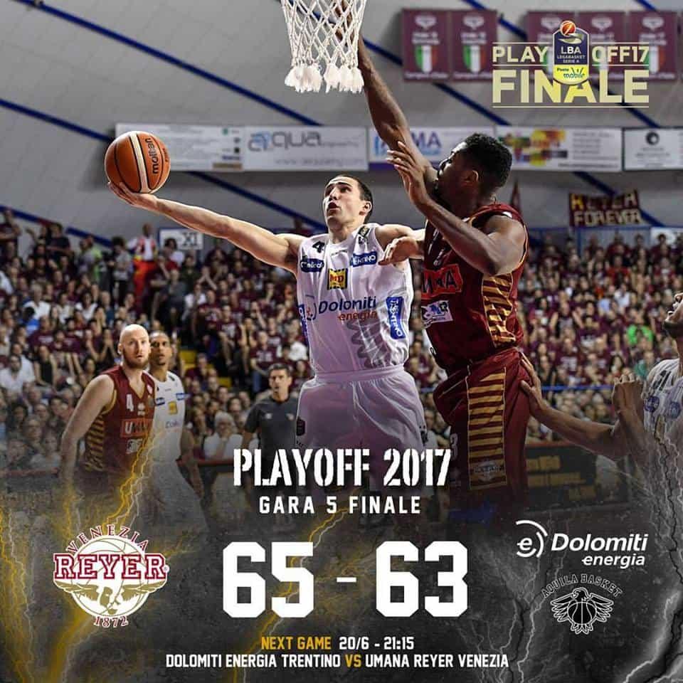 Lega A PosteMobile Finale Scudetto 2016-17: Trento si spegne sul più bello e Bramos regala la vittoria alla Reyer Venezia
