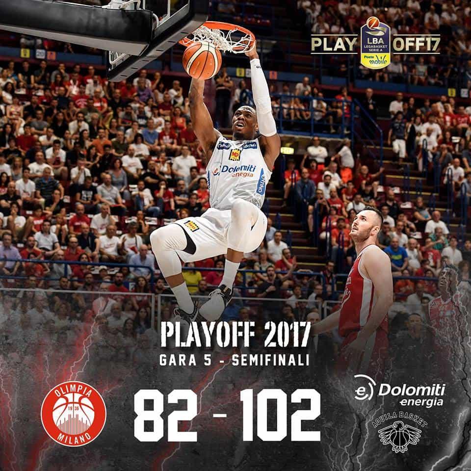 Lega A PosteMobile Semifinali Playoff 2016-17: Trento è nella storia è sua la Finale Scudetto umiliata Milano in casa 82-102