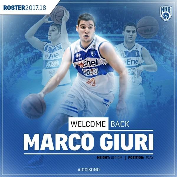 Lega A PosteMobile 2017-18: il brindisino Marco Giuri torna a casa all'Enel Basket Brindisi