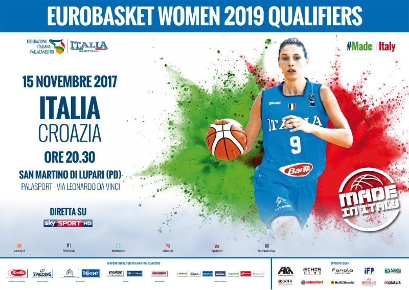 Nazionali 2017-18: via alla vendita dei biglietti di Italia-Croazia in campo mercoledì 15 novembre a San Martino di Lupari