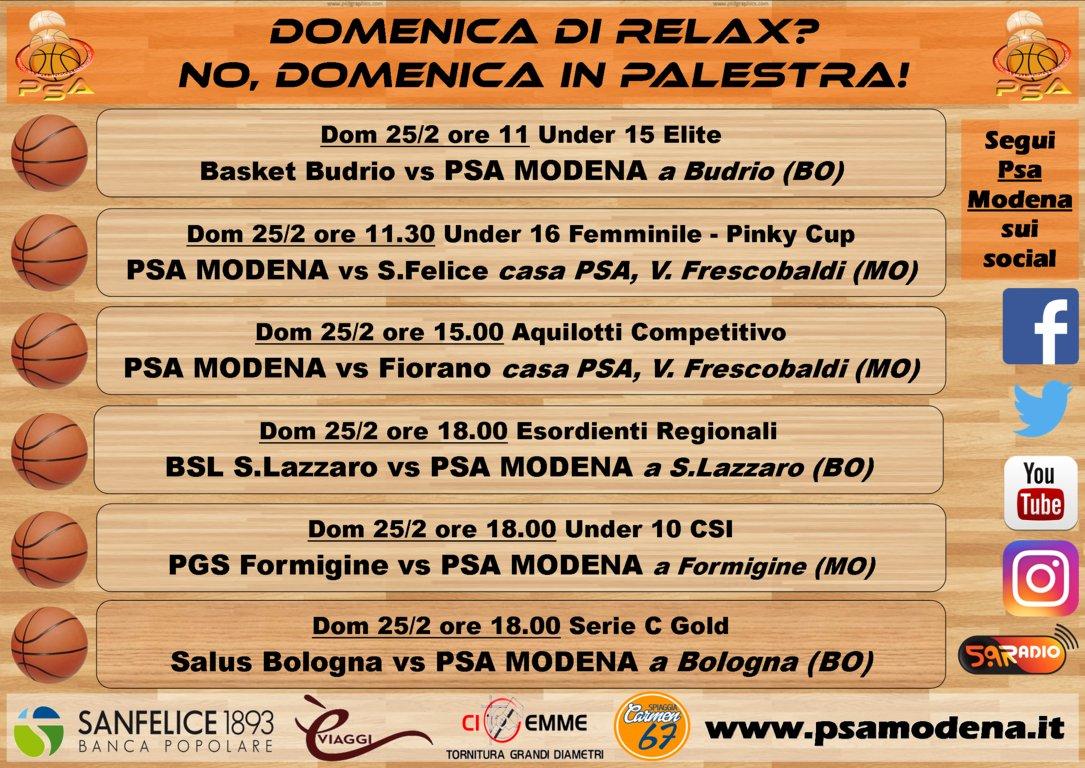 Serie C Gold Emilia - Giovanili Maschili Femminili 2017-18: il quadro delle partite della PSA Modena per il weekend