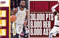 NBA 2017-18 nella notte del 27 Febbraio KingJames da record assoluto trascina i Cavs alla vittoria