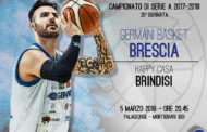 Lega A PosteMobile 2017-18: il #MondayNight vedrà la Germani Basket Brescia in casa vs Brindisi
