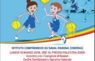 Giovanili Maschili Femminili 2017-18: Giacomo Galanda e Cecilia Zandalasini lunedì 19 marzo saranno a Parona per l'incontro EASYBASKETinCLASSE