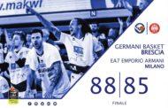 Lega A PosteMobile 2017-18: vittoria della Germani Basket Brescia che supera Milano 88-85 all'overtime