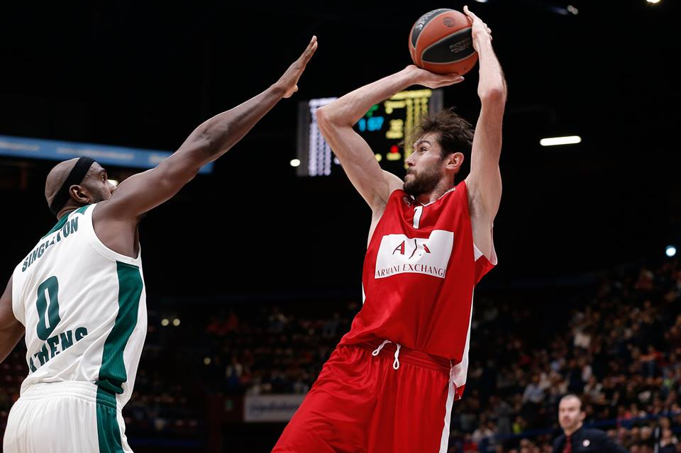 Euroleague 2017-18: una bella AX Exchange Milano cede solo all'OT al Panathinaikos 95-96