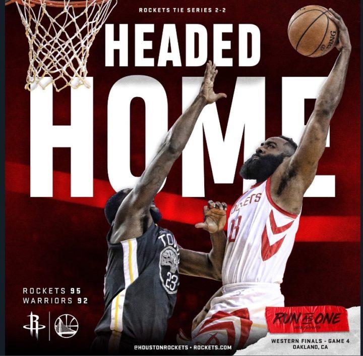 NBA Western Conference Finals Playoffs 2018: Gara4 tra i Warriros ed i Rockets si decide all'ultimo