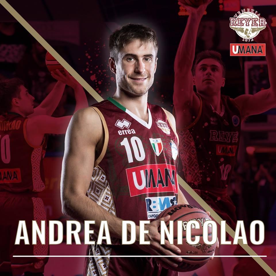 Lega A PosteMobile Mercato 2018-19: conferma per Andrea De Nicolao all'Umana Reyer Venezia per la prossima stagione