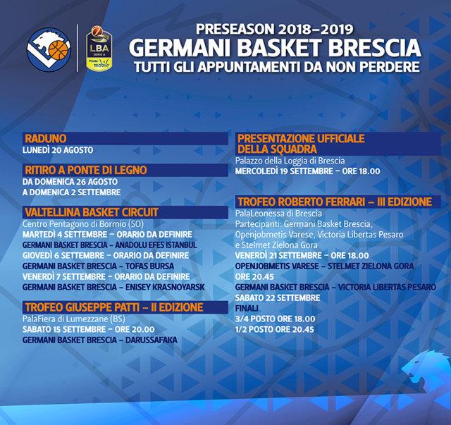 Calendario Legabasket.Lega A Postemobile Precampionato 2018 19 Anche La Germani
