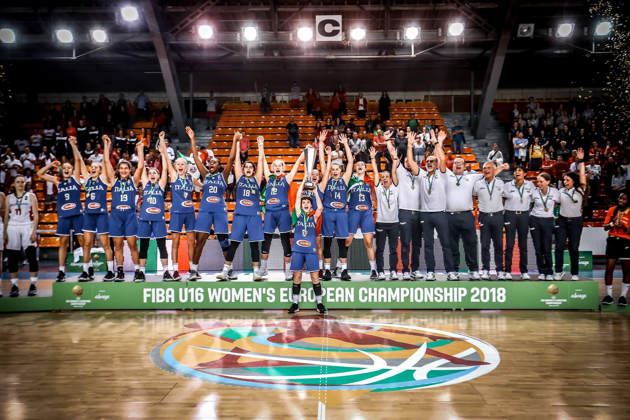Nazionale Femminile 2018: l'Italbasket U16F nella storia del basket rosa medaglia d'oro ai FIBA Europe battuta la Repubblica Ceca in finale 52-60