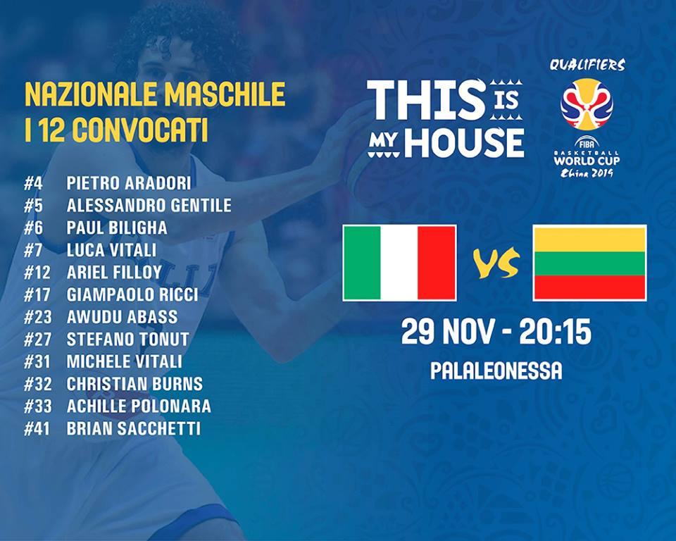 FIBA World Cup Qualifiers 2019: al PalaLeonessa venerdì 29 novembre primo #MatchBall per l'Italbasket vs la Lituania
