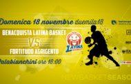 A2 Ovest Old Wild West 8^ giornata 2018-19: al PalaBianchini il Latina Basket deve ritornare alla vittoria vs Agrigento
