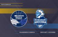 7Days EuroCup #Round7 2018-19: la Germani Basket Brescia ci crede nelle Top 16 adesso deve battere il Morabanc Andorra