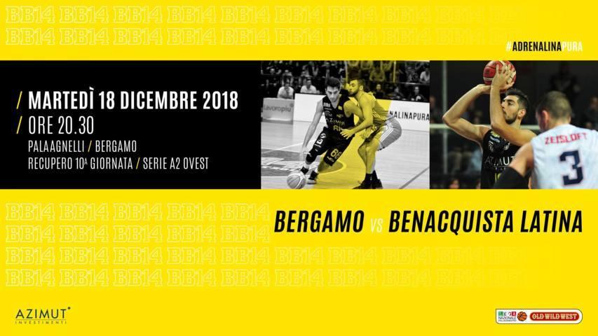 A2 Ovest Old Wild West 10^giornata 2018-19: al PalaAgnelli Azimut Bergamo Basket e Benacquista Latina per il recupero del 10° turno