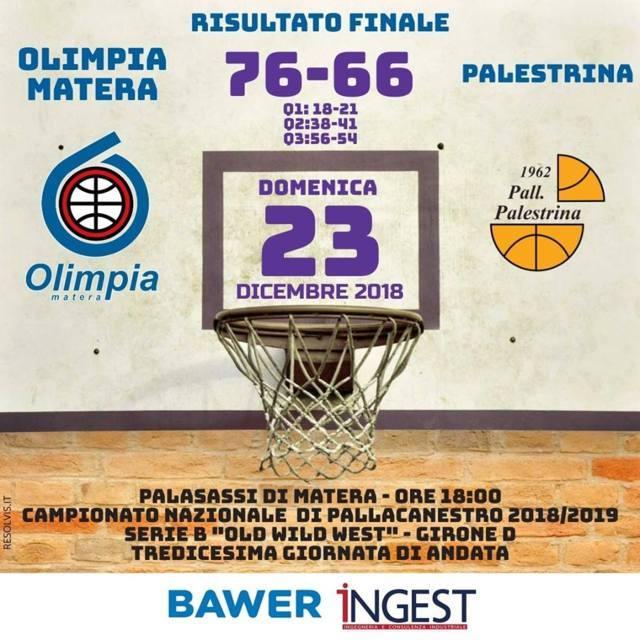 Serie B girone D Old Wild West 13^giornata 2018-19: si ferma a Matera la striscia vincente della Citysightseeing Palestrina che perde 76-66