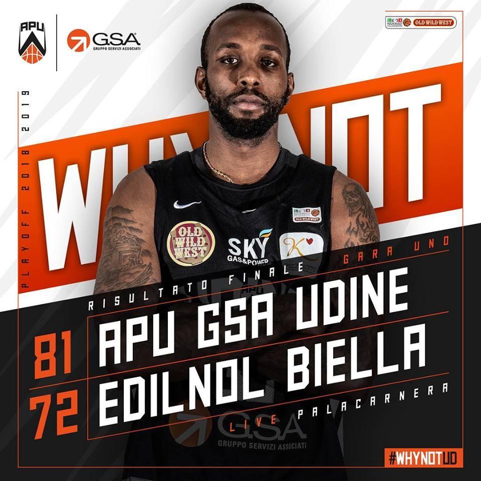 A2 Old Wild West Gara1 Playoff 2019: l'APU Gsa Udine fa sua la prima gara al PalaCarnera vs Biella per 81-72