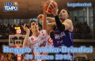Lega A PosteMobile 9^di ritorno 2018-19: la Grissin Bon Reggio Emilia dopo Pistoia batte anche l'Happy Casa Brindisi rivediamo il tutto in Terzo Tempo