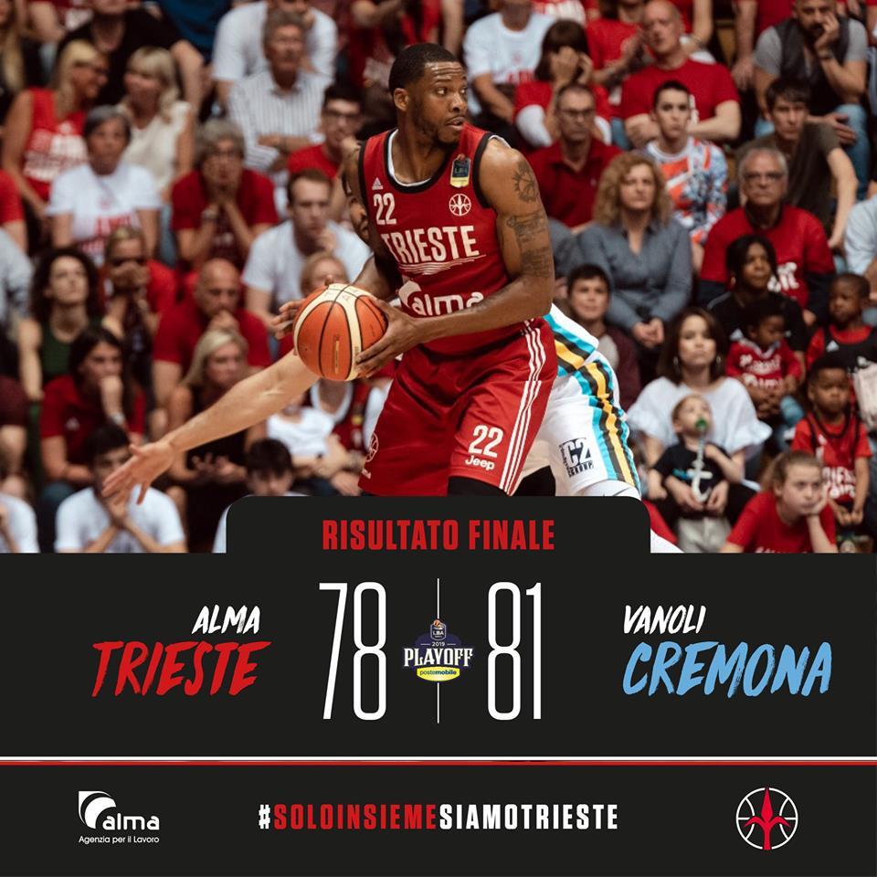 Lega A PosteMobile #Gara4 quarti di finale Playoff 2019: c'è super Crawford e Cremona sbanca il PalaRubini di Trieste per 78-81 ed è semifinale