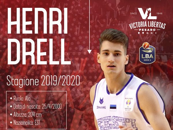 Legabasket LBA Mercato 2019-20: Henri Drell un'ala piccola per la VL Pesaro