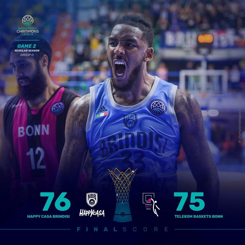FIBA Basketball Champions League #Round2 2019-20: è super Happy Casa Brindisi con super Banks che batte Bonn 76-75