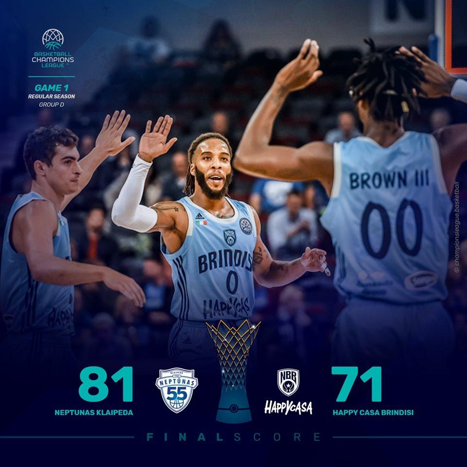 FIBA Basketball Champions League #Round1 2019-20: la Hppy Casa Brindisi perde all'esordio in Lituania vs il Klaipeda