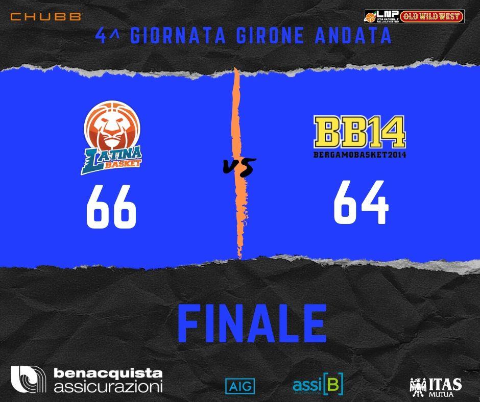 A2 Ovest Old Wild West 4^giornata 2019-20: vince Benacquista Latina sul filo di lana vs Bergamo dopo aver dominato