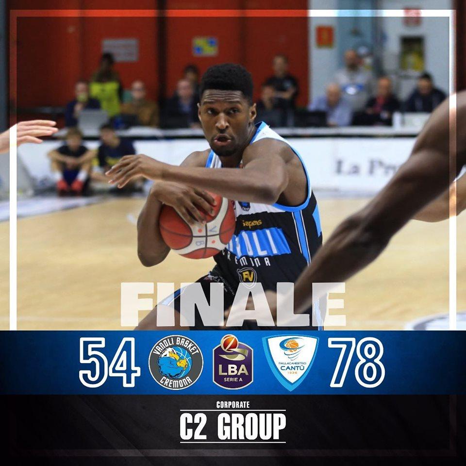 Legabasket LBA 7°giornata 2019-20: la Vanoli Cremona crolla in casa vs un'Acqua San Bernardo Cantù spietata ed efficiente