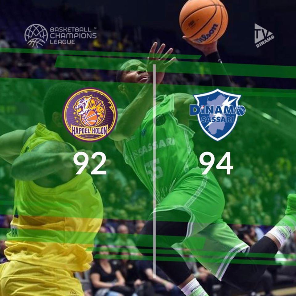Basketball Champions League #Game6 2019-20: ancora super Dinamo Sassari che passa ad Holon per 92-94