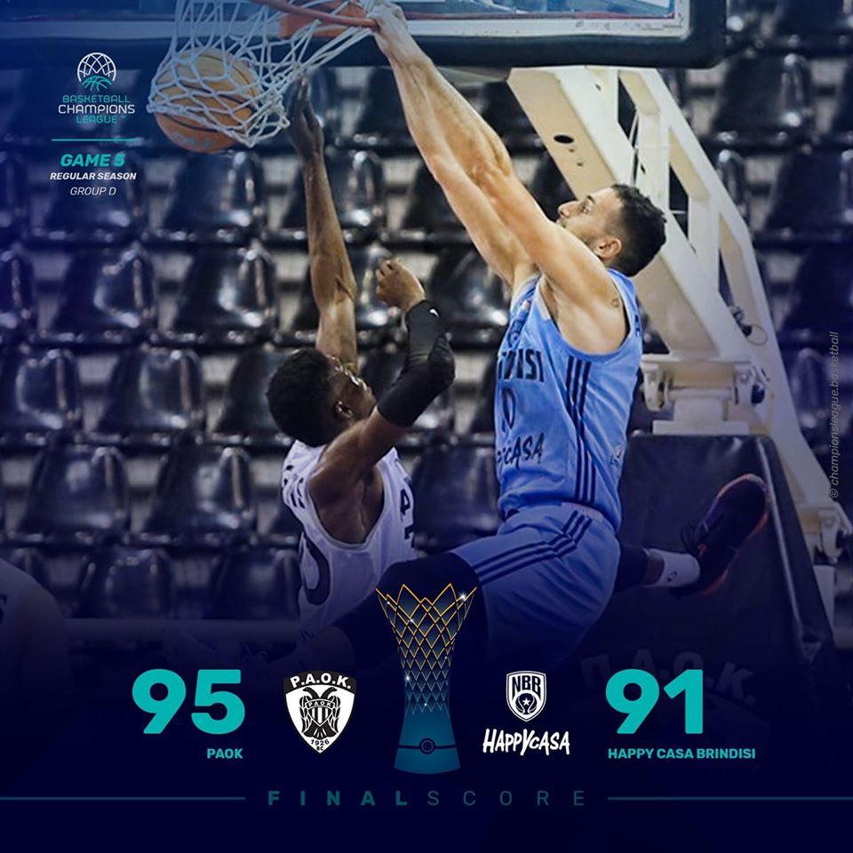 Basketball Champions League #Game5 2019-20: nel derby della Magna Grecia l'Happy Casa Brindisi perde ancora in trasferta vs il fanalino di coda PAOK