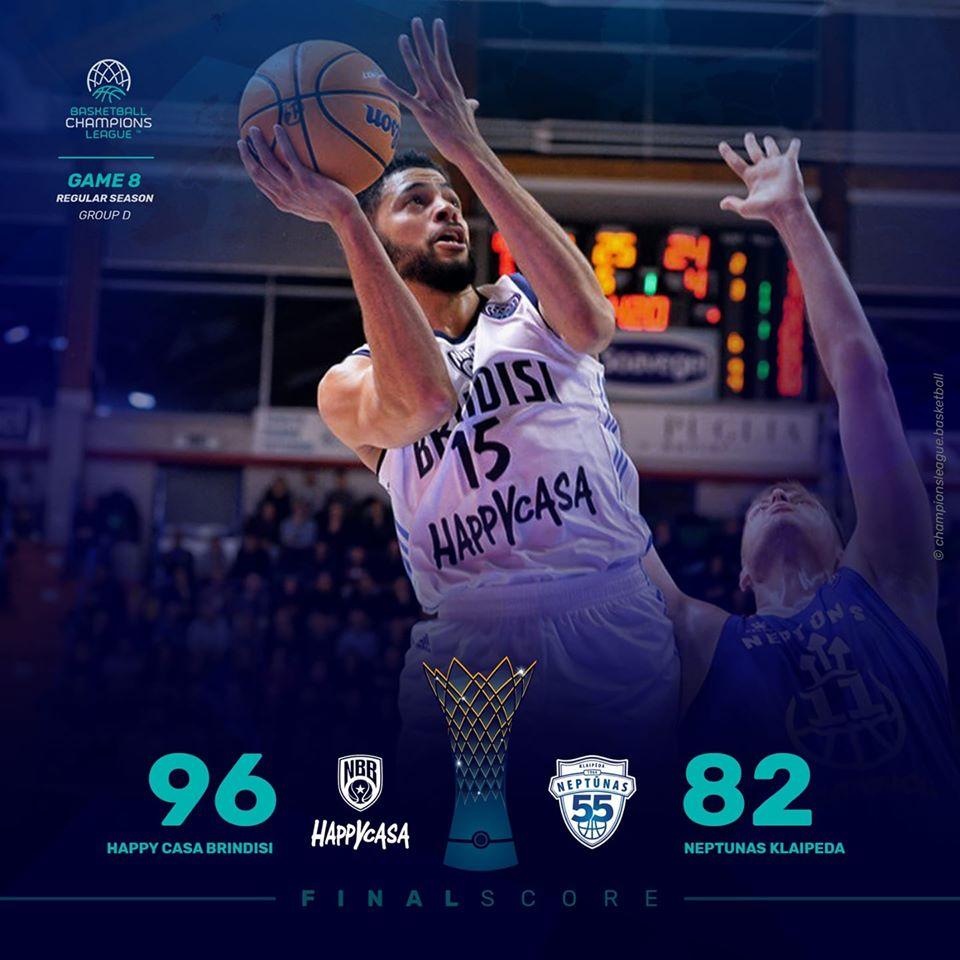 Basketball Champions League #Game8 2019-20: sono quattro su quattro per l'Happy Casa Brindisi in coppa battuto il Neptunas 96-82
