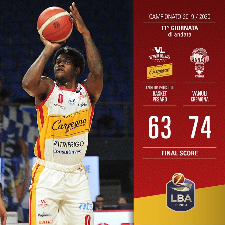 Legabasket LBA 11^andata 2019-20: la Vanoli Cremona non si ferma battuta anche Pesaro a domicilio