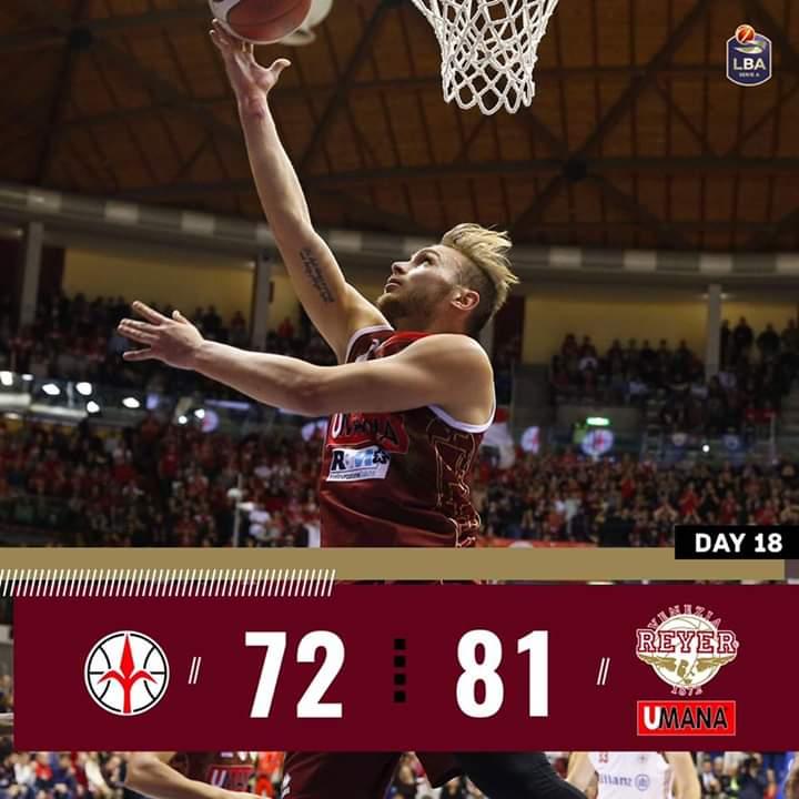 Legabasket LBA 1^ritorno 2019-20: la Reyer Venezia si riscatta e passa in casa dell'Allianz Trieste per 72-81