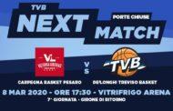 LBA Legabasket 7^ritorno 2019-20: a Pesaro match importante più per la Dé Longhi Treviso che non per la Carpegna Prosciutto