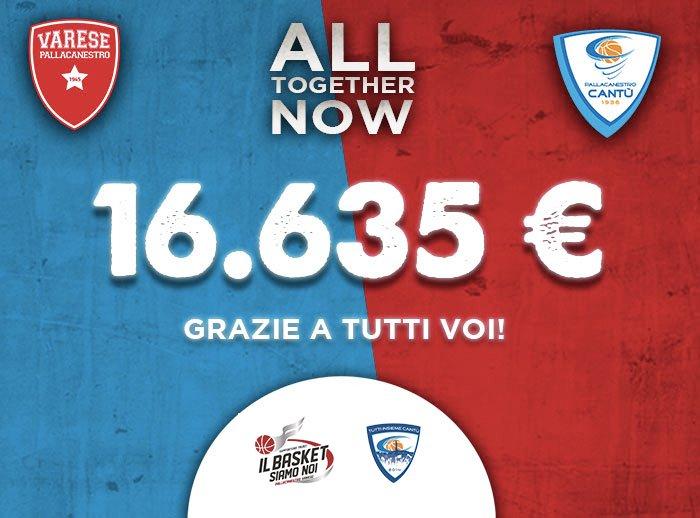 LBA Legabasket 2019-20: la Pallacanestro Cantù e la Pallacanestro Varese chiudono unite ALL TOGETHER NOW con 16.635,00€!!