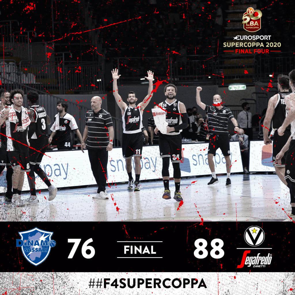 Eurosport LBA Supercoppa 2020: la Virtus Bologna fiacca la resistenza di Sassari nel quarto periodo e raggiunge Milano in finale