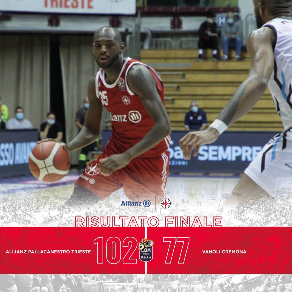 LBA Legabasket 1^ andata 2020-21: l'Allianz Trieste tritura una brutta versione della Vanoli Cremona
