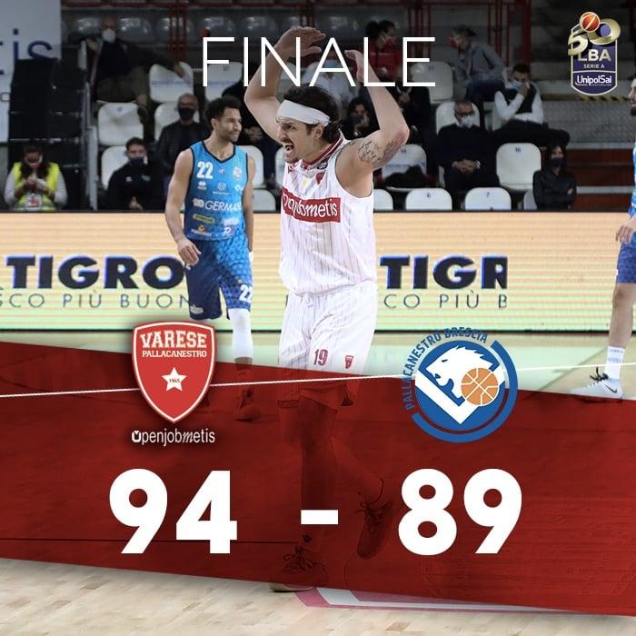 LBA Legabasket 1^ andata 2020-21: sempre battaglia tra Varese e Brescia ma come sempre prevalgono i biancorossi 94-89 all'OT