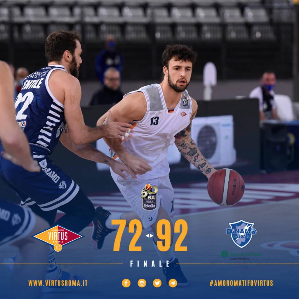LBA Legabasket 3^ andata Unipolsai 2020-21: Virtus Roma ancora in difficoltà non solo tecnica, vince la Dinamo Sassari per 72-92