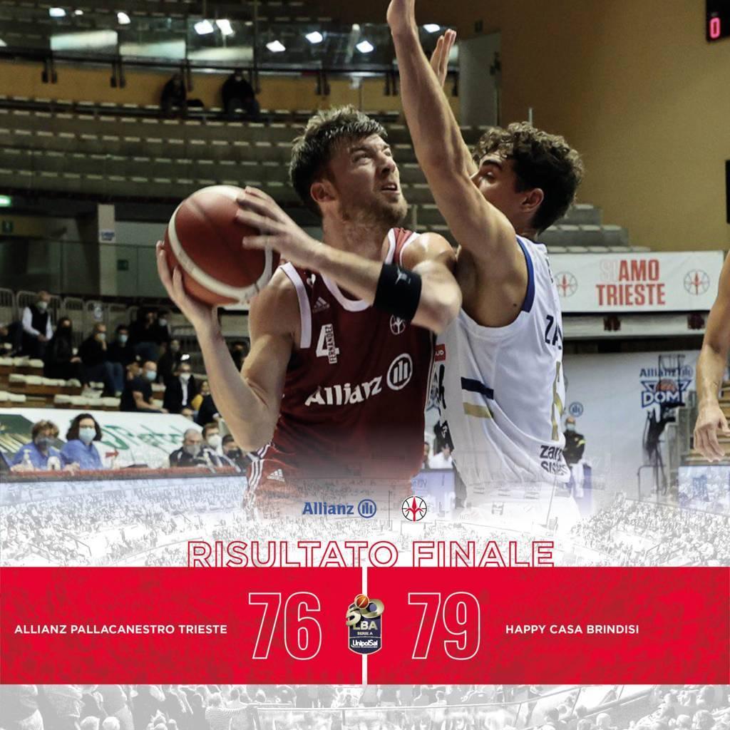 LBA Unipolsai 5^ andata 2020-21: la sfida tra nord e sud dell'Adriatico è della Happy Casa Brindisi che espugna Trieste per 76-79