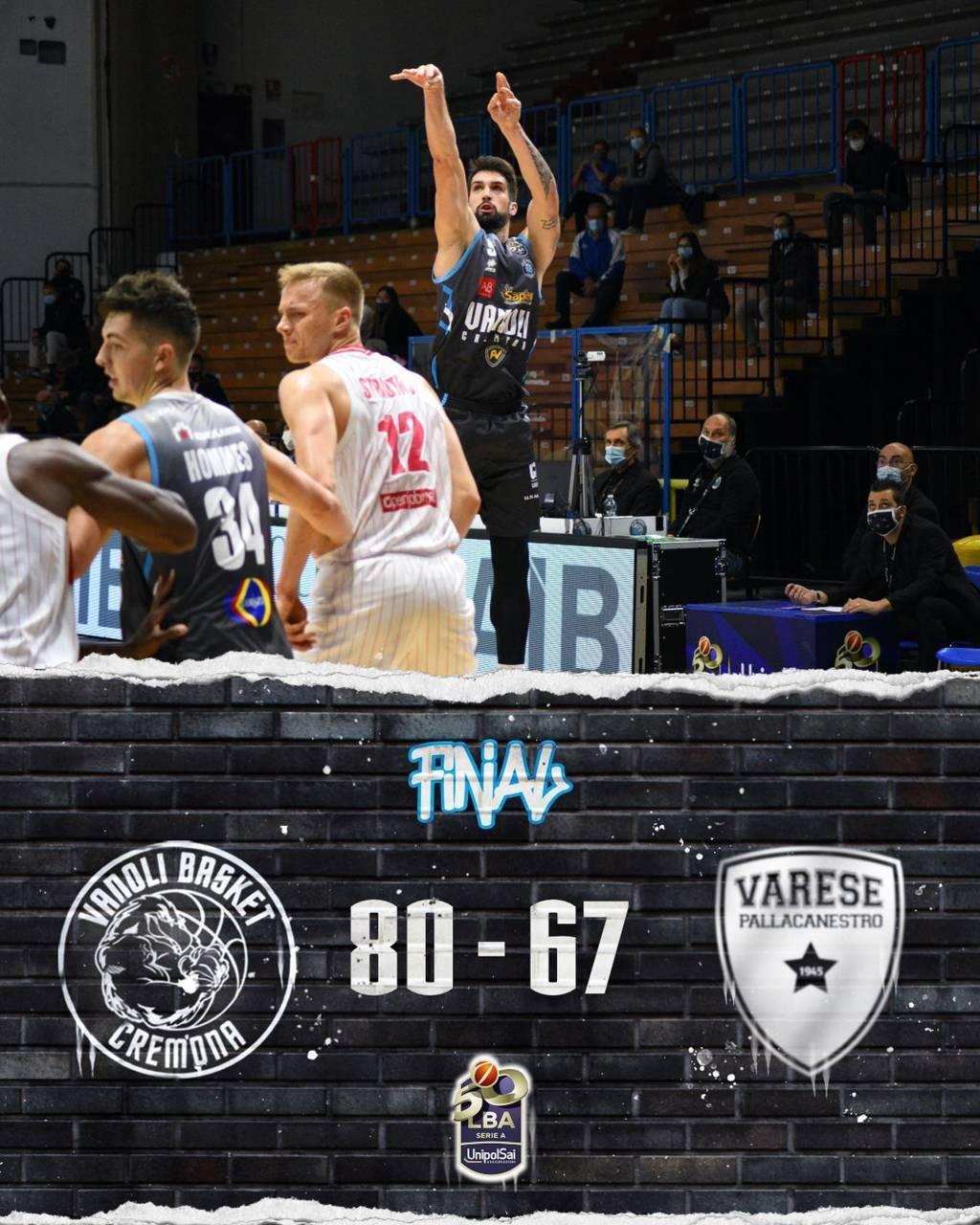 LBA Legabasket Unipolsai 4^ andata 2020-21: la Vanoli Cremona ci ha preso gusto e vince anche il derby vs Varese