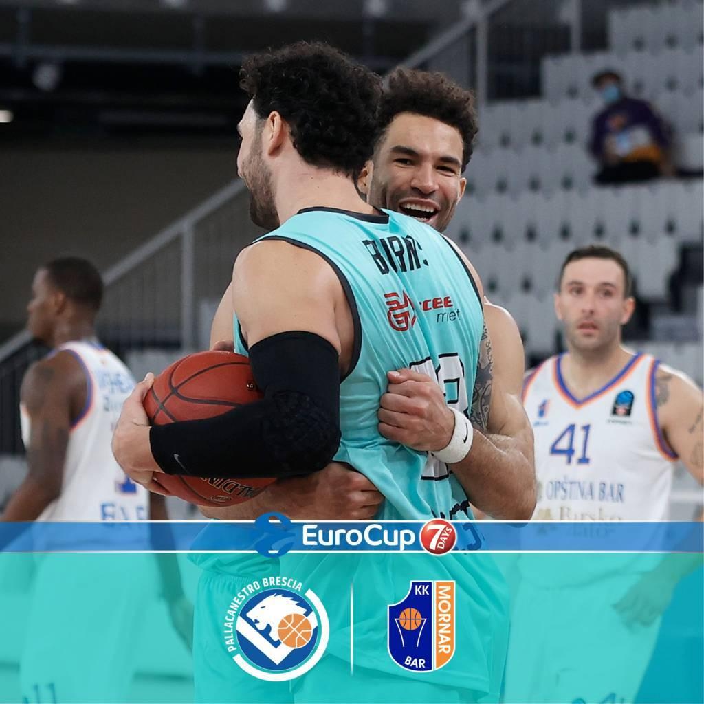 7DAYS Eurocup #Round8 2020-21: la Germani Brescia ritrova il sorriso della vittoria vs il Mornar Bar e spera ancora nelle Top 16