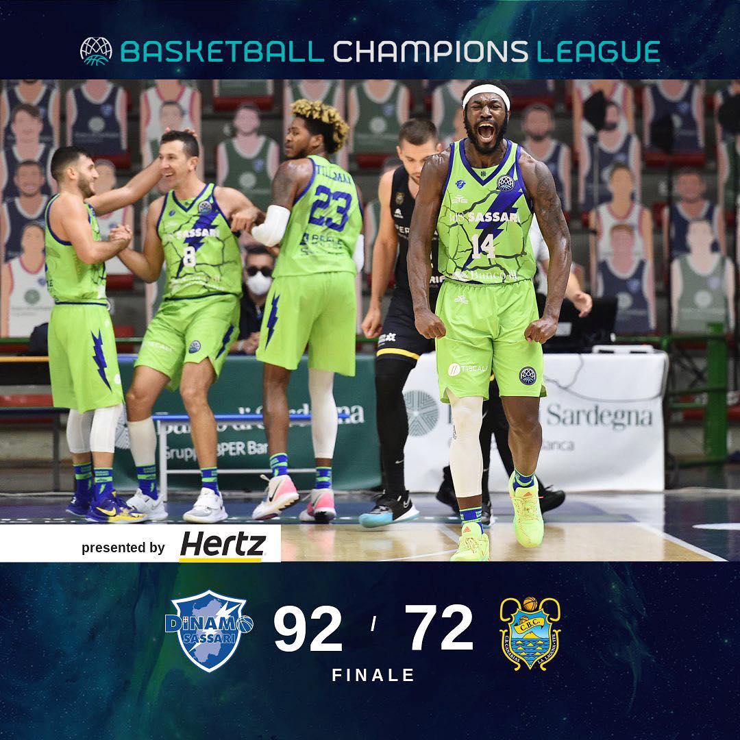 Basketball Champions League #Game2 2020-21: la Dinamo Sassari infierisce sull'Iberostar Tenerife con un netto 92-72