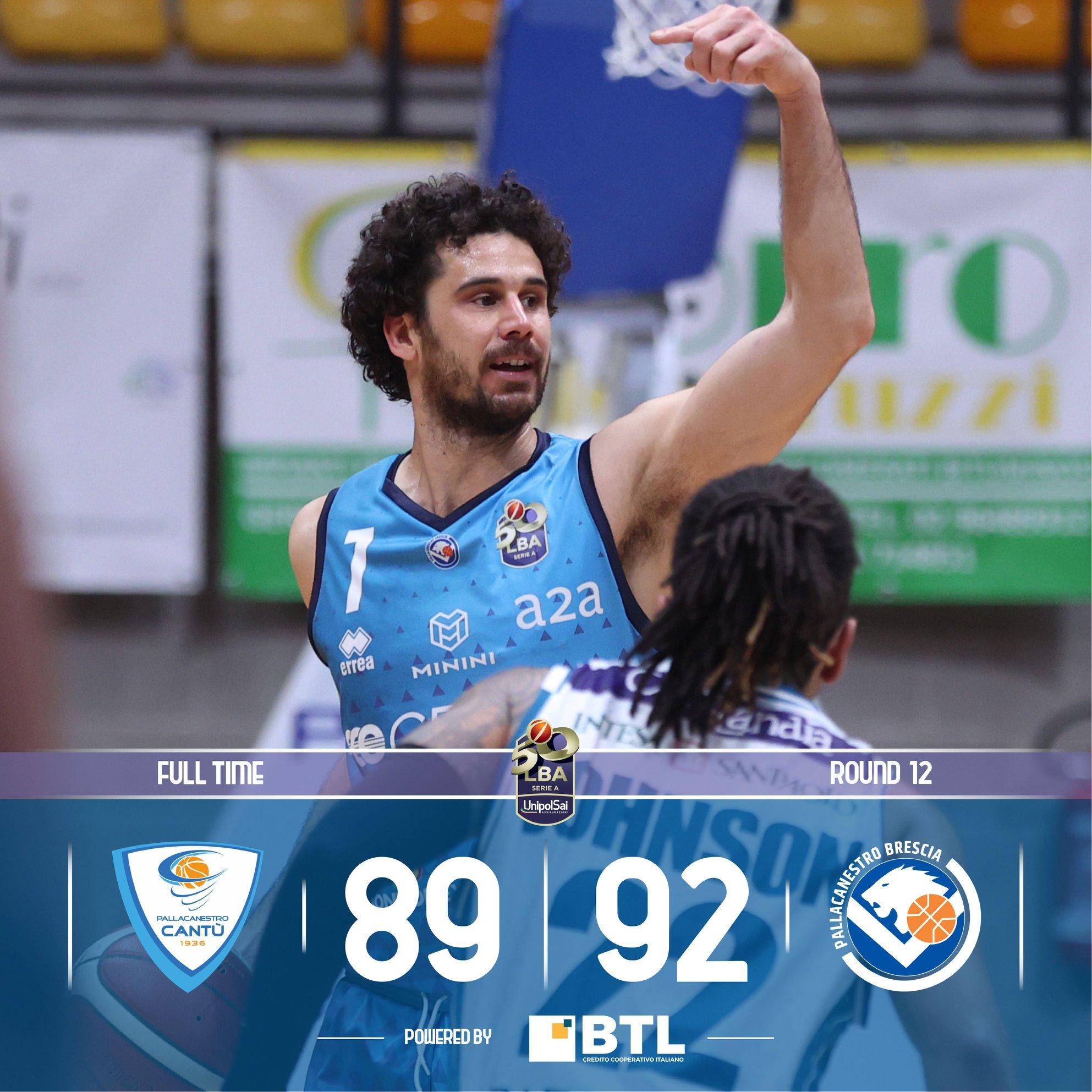 LBA UnipolSai 2020-21 12^ giornata: Cantù suona il Jazz, ma è Brescia a cantar vittoria all'overtime.