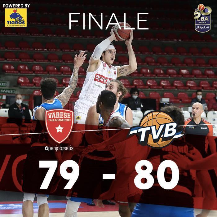 LBA Unipolsai 13^andata 2020-21: l'Openjobmetis Varese chiude un 2020 da cancellare finendo sconfitta in casa da una tenace Dé Longhi Treviso