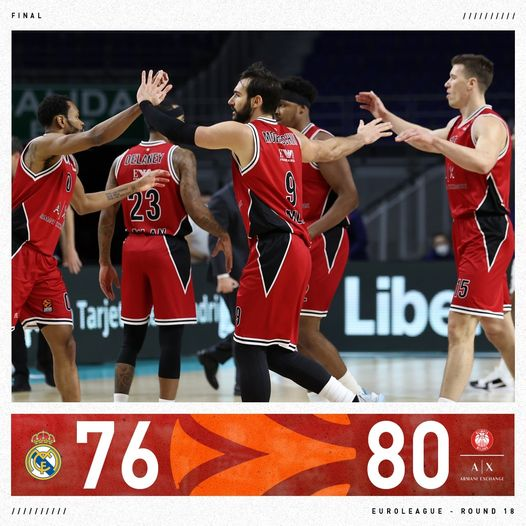 Turkish Airlines Euroleague #Round18 2020-21: vittoria Real(e) a Madrid, è un Olimpia Milano da sballo