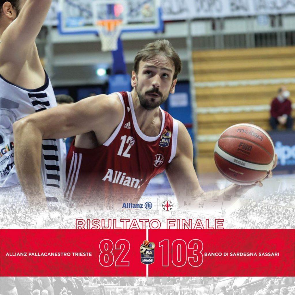 LBA UnipolSai 2^ Ritorno 2020-21: Dinamo Sassari ad alta velocità, l'Allianz Trieste tiene il passo per un tempo, ma non basta. Alabardati KO.