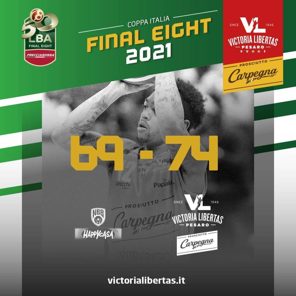 Frecciarossa Final Eight Coppa Italia 2021: la Carpegna Prosciutto Pesaro supera l'Happy Casa Brindisi ed approda in finale compiendo un autentico miracolo sportivo